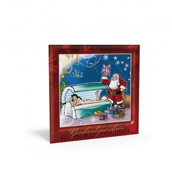Weihnachtsgutschein Solarium-Santa inkl. Transpa