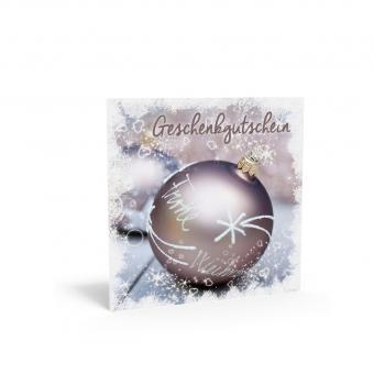 Weihnachtsgutschein Quadra Silber-Kugel