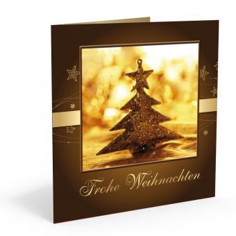 Weihnachts-Doppelkarte Goldbaum inkl. Kuvert