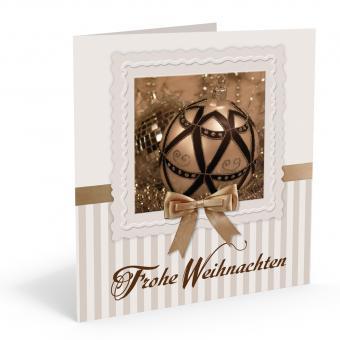 Weihnachts-Doppelkarte Goldkugel inkl. Kuvert