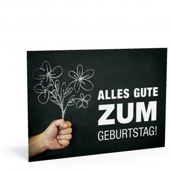 """Geburtstags-Postkarte """"Tafel mit Blume"""""""