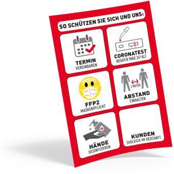 Plakat DIN A4, FFP2 + Test + Termin