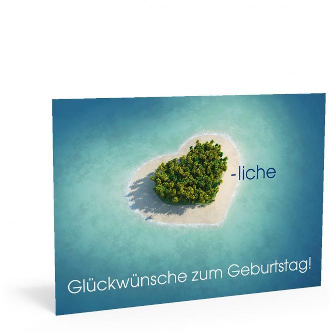 Geburtstags-Postkarte Insel