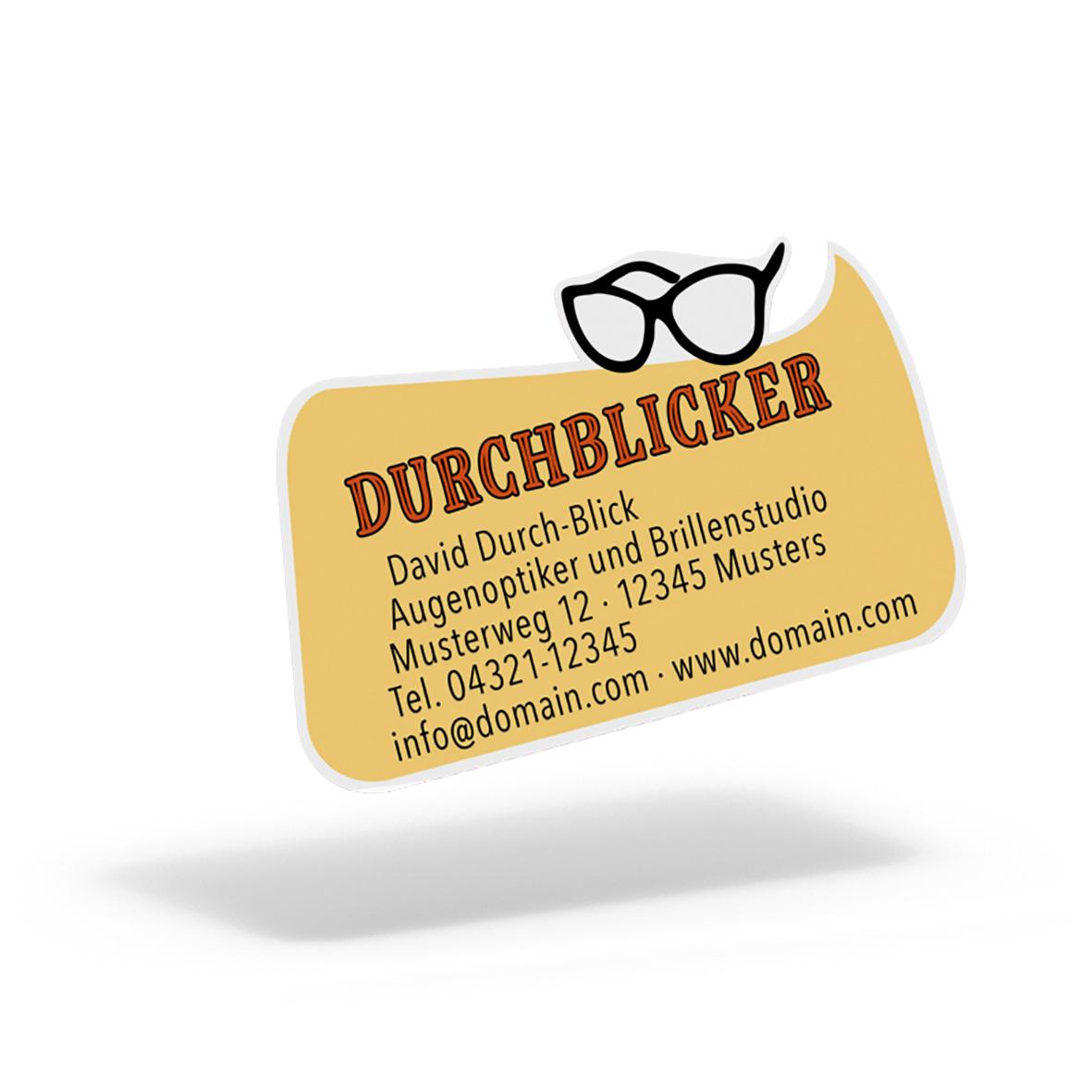 Pythagoras Marketing Gmbh Folien Aufkleber Etiketten Rechteckige Blase Optiker Geschenkgutscheine Visitenkarten Kundenkarten Und Weitere