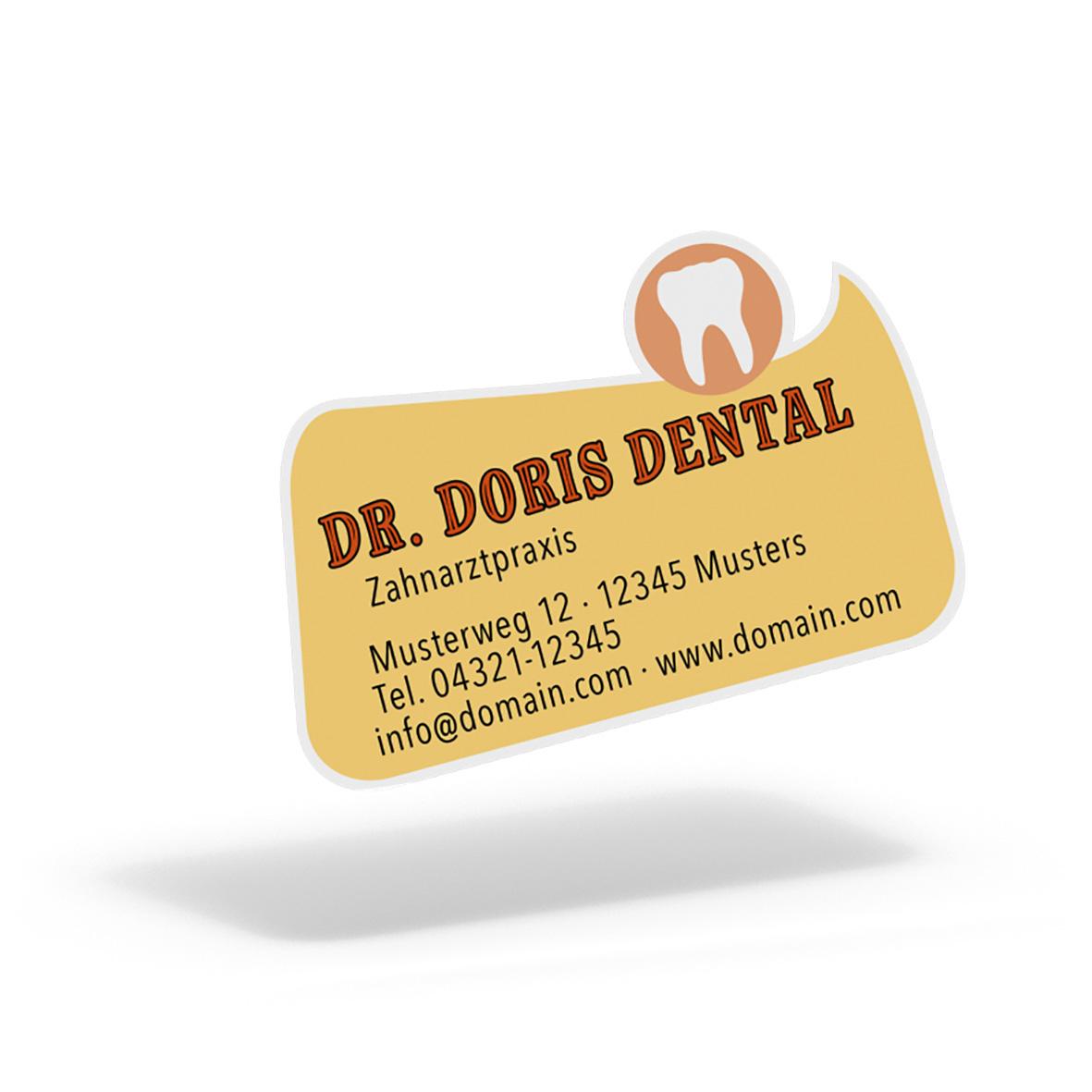 Pythagoras Marketing Gmbh Folien Aufkleber Etiketten Rechteckige Blase Zahnarzt Geschenkgutscheine Visitenkarten Kundenkarten Und Weitere