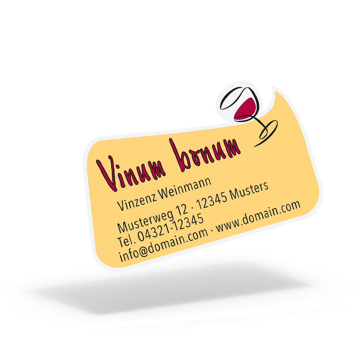 Pythagoras Marketing Gmbh Folien Aufkleber Etiketten Rechteckige Blase Vino Geschenkgutscheine Visitenkarten Kundenkarten Und Weitere